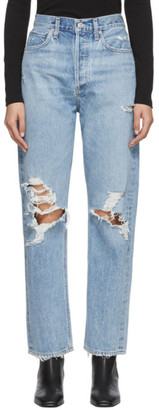 A Gold E Agolde AGOLDE Blue 90s Mid Rise Loose Fit Jeans