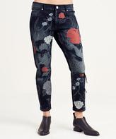 True Religion Black Floral Audrey Mid-Rise Slim Boyfriend Jeans