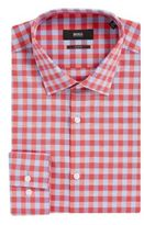 HUGO BOSS Gingham Italian Cotton-Linen Dress Shirt, Slim Fit Jenno 15.5 Red