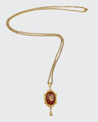 Ben-Amun Intaglio Pendant and Necklace, Gold/Red