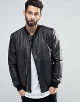 ONLY & SONS Faux Leather Bomber with Asymmetrical Zip