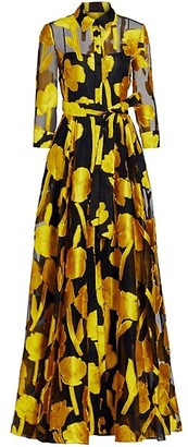 Carolina Herrera Jacquard Silk Floral Trench Gown