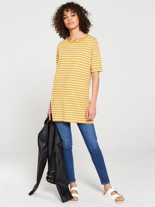 Very The Three Quarter Sleeve Longline Top - Cream Mustard