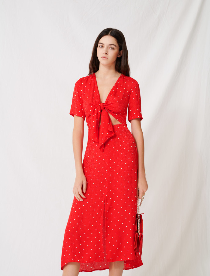 Maje Long tie dress with polka dot print