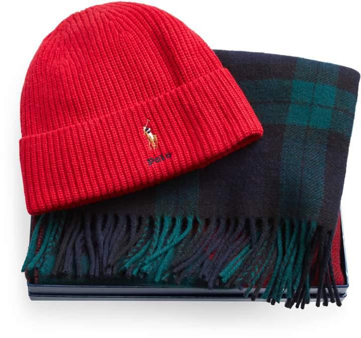 Ralph Lauren Ribbed Hat & Plaid Scarf Set