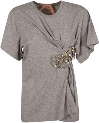N°21 N.21 Bow Detail Draped T-shirt