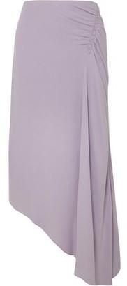 Les Héroïnes The J.k Asymmetric Ruched Washed-crepe Midi Skirt