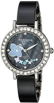 Akribos XXIV Women's AK762SSB Swiss Quartz Movement Watch with Black Mother of Pearl Dial with Printed Flowers and Silver and Black Ceramic Bracelet