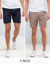 Asos 2 Pack Slim Chino Shorts In Navy & Light Brown SAVE