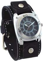 Nemesis #STH012K Men's Signature Gray Dial Black Wide Leather Cuff Watch