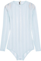 Balmain Striped Stretch-knit Bodysuit - Sky blue