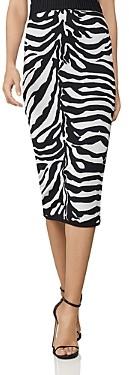Herve Leger Metallic Zebra Print Pencil Skirt