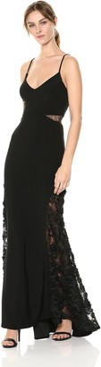 Betsy & Adam Women's Long v-Neckline Soutache and mesh Detail Dress