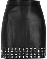 River Island Womens Black embellished hem leather look mini skirt