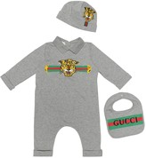 Gucci Kids Cotton onesie, bib and hat set