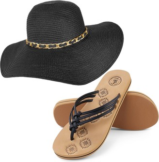 Aerusi Mrs. Wickman Floppy Straw Sun Hat and Foam Flip Flop Sandals Bundle Set