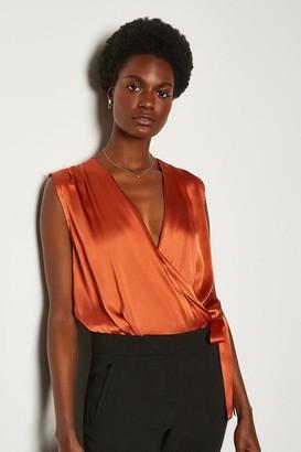 Karen Millen Silk Satin Sleeveless Draped Blouse