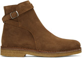 Ami Alexandre Mattiussi Brown Suede Buckle Boots
