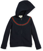 Gucci Hooded Felted Jersey Sweatshirt, Blue, Size 4-12