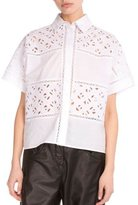 Kenzo Flying Lace & Poplin Blouse, White