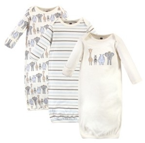 Hudson Baby Baby Girls and Boys Safari Gowns, Pack of 3