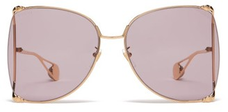 Gucci Oversized Round Metal Sunglasses - Womens - Purple Gold