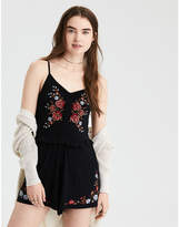 American Eagle AE Embroidered Scrunch Front Romper