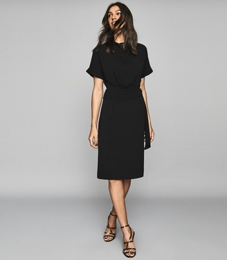 Reiss LOLA SHORT SLEEVED MIDI DRESS Black