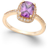 Charter Club Rose Gold-Tone Purple Stone Pavé Ring, Only at Macy's