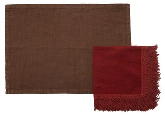 Once Milano - Set Of Four Linen Napkins And Placemats - Brown Multi