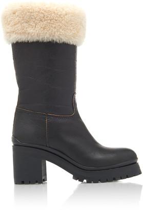 Miu Miu Shearling-Trimmed Leather Boots