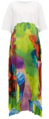 Raey Neon Tie-dye Print Silk And Cotton T-shirt Dress - Womens - Multi