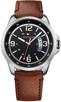 Tommy Hilfiger Men's Casual Sport Interchangeable Brown or Embossed Black Leather Strap Watch 44mm 1791321