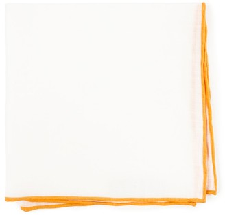 Proenza Schouler The Tie BarThe Tie Bar Mustard White Linen With Rolled Border Pocket Square