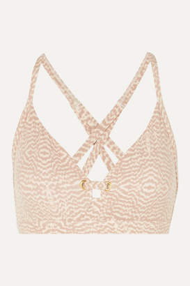 Varley Lindley Eyelet-embellished Printed Stretch Sports Bra - Blush
