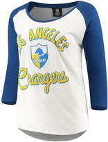 New Era Women's 5th & Ocean by White/Navy Los Angeles Chargers Plus Size 3/4-Sleeve Raglan T-Shirt