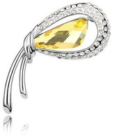 Miki&Co Silver Swarovski Elements Women's Crystal Flower Bud Brooch, with a Gift Box, Yellow