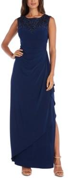 R & M Richards Sequin-Neck Gown