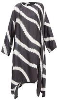 eskandar Striped Shibori-dyed Crinkled-silk Dress - Womens - Grey White