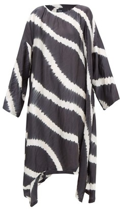 eskandar Striped Shibori-dyed Crinkled-silk Dress - Grey White