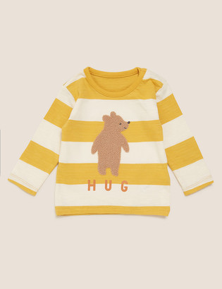Marks and Spencer Pure Cotton Striped Bear Hug Top (0-3 Yrs)