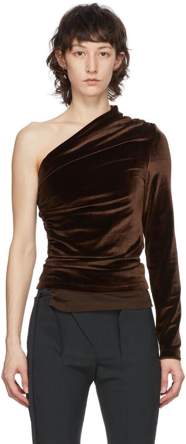 Thumbnail for your product : Supriya Lele Brown Velvet Ruching Off-Shoulder Blouse