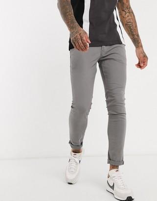 Jack and Jones Intelligence skinny fit 5 pocket pants in light grey