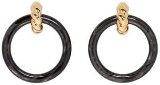 Balenciaga Gold and Black Hoop Earrings