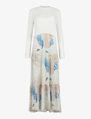 AllSaints Tilly Valentine graphic-print woven midi dress