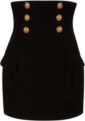 Balmain Button Detail Back Zip Skirt