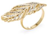 Rebecca Minkoff Encrusted Leaf Ring