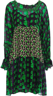 Anna Sui Lace-trimmed Floral-print Silk-crepe And Georgette Mini Dress