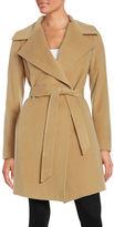 Diane von Furstenberg Wool Blend Mid Length Wrap Coat