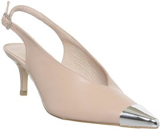 Office Melodramatic Metal Toe Point Slingback Heels Nude Leather
